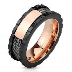 Oceľový prsteň - trojfarebný, lesklý obdĺžnik, zárezy na okrajoch, tri lanká, 8 mm