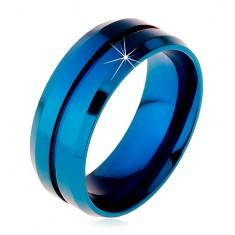 Modrý prsteň z chirurgickej ocele, úzky zárez v strede, skosené okraje, 8 mm