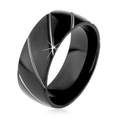 Obrúčka z ocele 316L čiernej farby, diagonálne pásy v striebornom odtieni, 8 mm