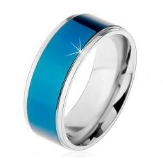 Oceľový prsteň, tmavomodrý pruh, lemy striebornej farby, vysoký lesk, 8 mm