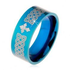 Lesklá obrúčka z ocele 316L, modrá farba, keltské symboly a kríž, 8 mm