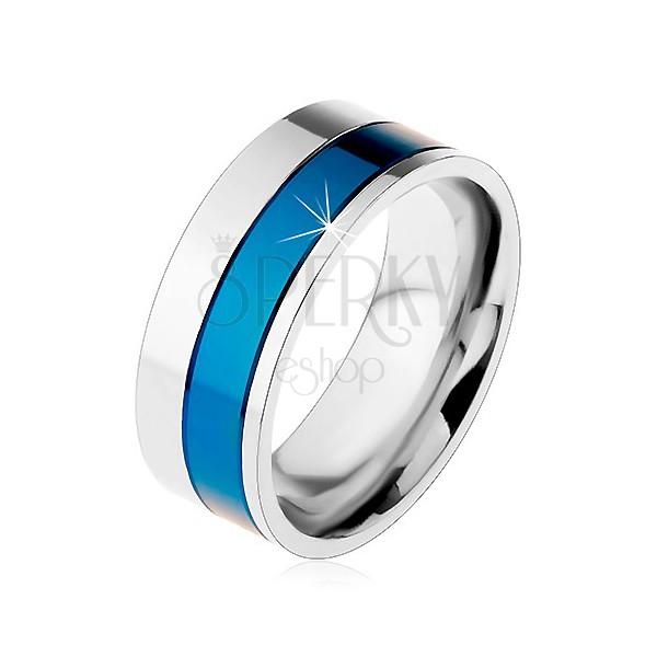 Prsteň z chirurgickej ocele, pásy modrej a striebornej farby, 8 mm