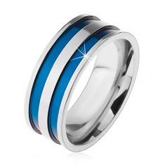 Oceľový prsteň v striebornom odtieni, tenké vyhĺbené pásy modrej farby, 8 mm