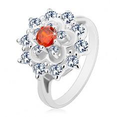 Prsteň v striebornom odtieni, veľký číry kvet s oranžovým stredom
