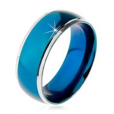 Prsteň z chirurgickej ocele, zaoblený modrý pruh, lemy striebornej farby, 8 mm