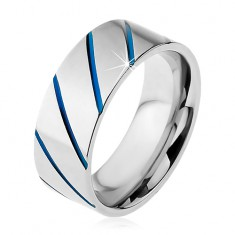 Prsteň z ocele 316L striebornej farby, modré diagonálne pásy, 8 mm