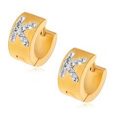 Oceľové náušnice s kĺbovým zapínaním, zlatý odtieň, číre zirkónové písmeno K
