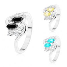 Prsteň so zvlnenými ramenami, strieborný odtieň, farebné zrnká a číre zirkóny
