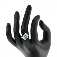 Prsteň v striebornom odtieni, dve farebné zrnká a okrúhle zirkóny čírej farby