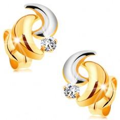 Zlaté 14K náušnice s ligotavým diamantom, dvojfarebné oblúčiky, puzetky