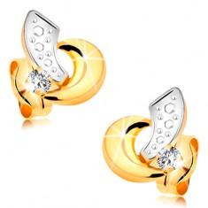 Zlaté náušnice 585 - oblúčiky z bieleho a žltého zlata, číry žiarivý briliant