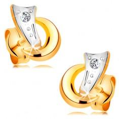 Dvojfarebné náušnice v 14K zlate - dva oblúčiky a trblietavý diamant čírej farby