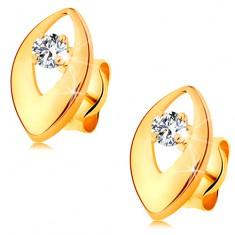 Briliantové náušnice v žltom 14K zlate - žiarivý diamant v lesklom zrnku