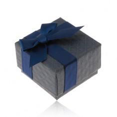 Šperky eshop - Darčeková krabička na prsteň, prívesok a náušnice, tmavomodrá farba, mašlička U29.16