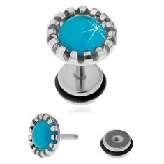 Oceľový fake plug do ucha, syntetický kameň - mačacie oko svetlomodrej farby