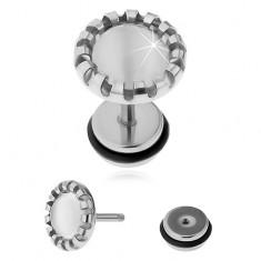 Falošný plug do ucha z ocele 316L, biely kameň - syntetické mačacie oko