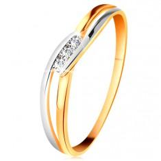 Diamantový prsteň zo 14K zlata, tri číre brilianty, rozdelené zvlnené ramená