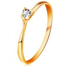 Prsteň v žltom 14K zlate - trblietavý číry briliant v lesklom vyvýšenom kotlíku