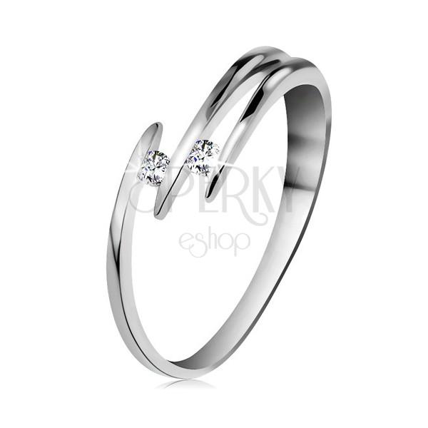 Briliantový prsteň z bieleho 14K zlata - dva ligotavé číre diamanty, tenké línie ramien