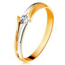 Diamantový zlatý prsteň 585, žiarivý číry briliant, rozdelené dvojfarebné ramená