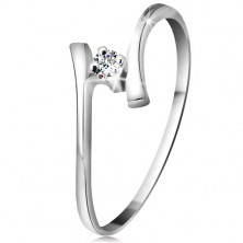 Zlatý prsteň 585 - žiarivý číry briliant, tenké zahnuté ramená, biele zlato