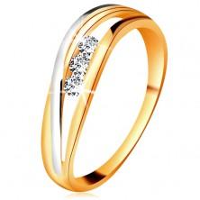 Briliantový prsteň zo 14K zlata, zvlnené dvojfarebné línie ramien, tri číre diamanty