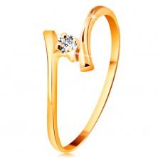 Prsteň zo žltého zlata 585 - žiarivý číry briliant, tenké zahnuté ramená