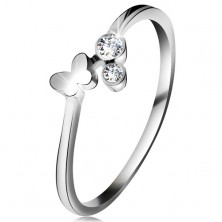 Diamantový prsteň z bieleho 14K zlata - dva číre brilianty, lesklý motýlik