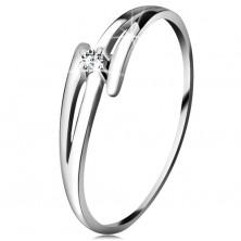 Briliantový prsteň z bieleho 14K zlata - rozdelené zvlnené ramená, číry diamant