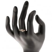 Diamantový zlatý prsteň 585, tri žiarivé číre brilianty, rozdelené dvojfarebné ramená