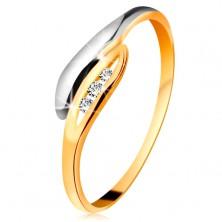 Zlatý diamantový prsteň 585 - dvojfarebné zahnuté lístočky, tri číre brilianty