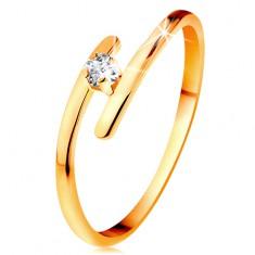 Diamantový prsteň v žltom 14K zlate - žiarivý číry briliant, tenké predĺžené ramená