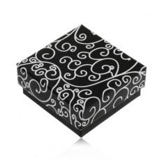 Šperky eshop - Papierová čierna krabička na náušnice alebo prívesok, biele špirálovité ornamenty U31.16