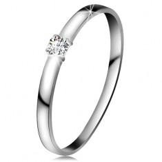 Briliantový prsteň v bielom 14K zlate - diamant čírej farby, lesklé ramená