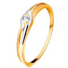 Diamantový prsteň zo 14K zlata, dvojfarebné ramená s výrezmi, číry briliant