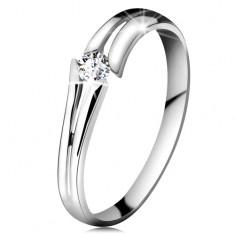 Zlatý prsteň 585 so žiarivým čírym briliantom, rozdelené ramená, biele zlato