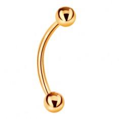 Šperky eshop - Piercing zo žltého 9K zlata - banán a dve lesklé hladké guľôčky GG182.22
