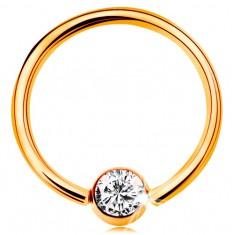 Zlatý 9K piercing - lesklý krúžok a gulička so vsadeným zirkónom čírej farby, 14 mm