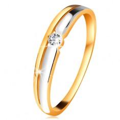 Briliantový prsteň zo 14K zlata - číry diamant v okrúhlej objímke, dvojfarebné línie