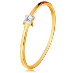Dvojfarebný zlatý prsteň 585 - hviezdička s čírym briliantom, tenké ramená