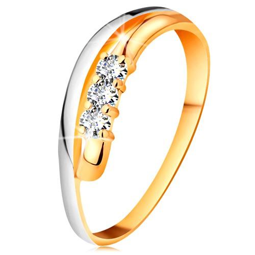 Briliantový prsteň v 14K zlate, zvlnené dvojfarebné línie ramien, tri číre diamanty - Veľkosť: 61 mm