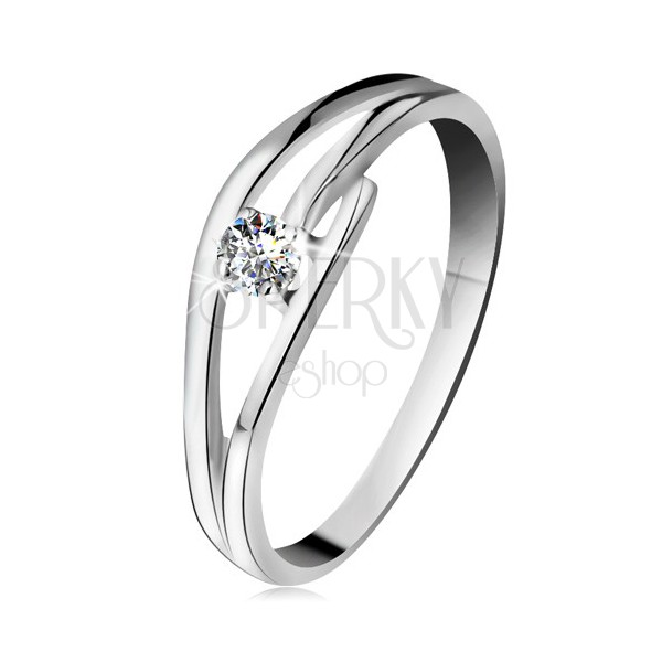 Prsteň z bieleho zlata 585 s trblietavým diamantom e3d08b45ac8