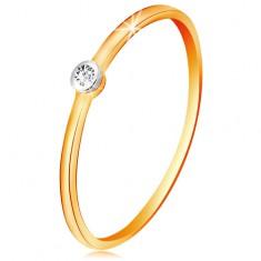 Zlatý dvojfarebný prsteň 585 - číry briliant v okrúhlej objímke, tenké ramená