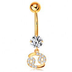 Zlatý 9K piercing do bruška - číry zirkón, ligotavý symbol zverokruhu - RAK