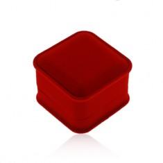 Zamatová krabička na prsteň alebo náušnice, hranatý tvar, červený odtieň