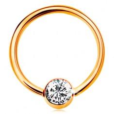 Zlatý piercing 585 - krúžok s guličkou a vsadeným čírym zirkónom, 12 mm