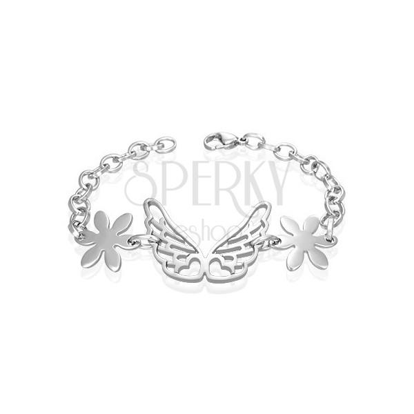 Oceľový náramok anjelské krídla, kvietky