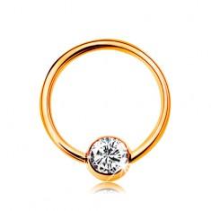 Piercing zo žltého 14K zlata - malý krúžok s guličkou, číry zirkón, 8 mm