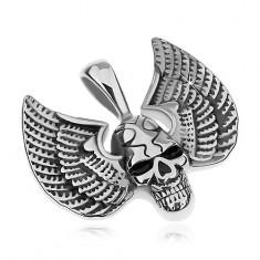Prívesok z chirurgickej ocele, strieborná farba, patinovaná lebka s krídlami