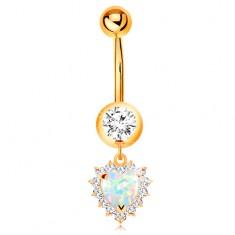 Zlatý 9K piercing do pupku - okrúhly zirkón v objímke, opálové srdce s čírym lemom